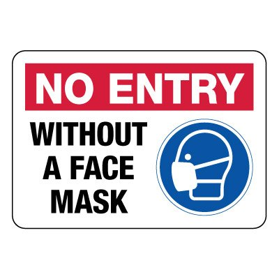 Warning sign about safety in the workplace during Covid-19